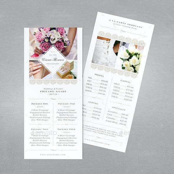 Photography Pricing Guide - Rack Card