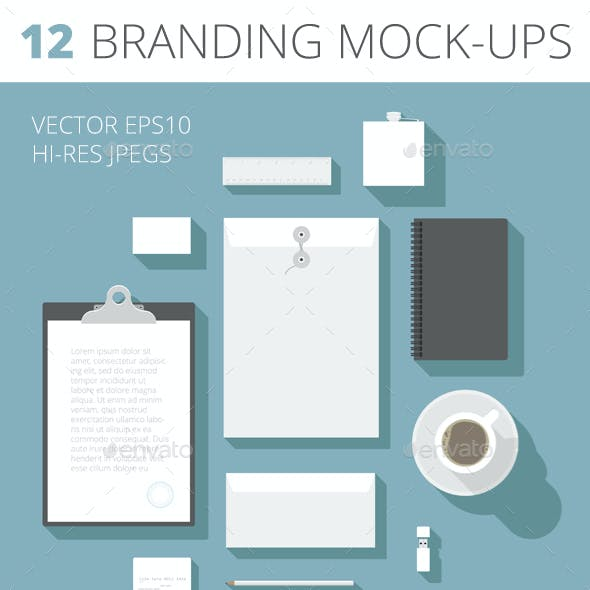 Flat Design Corporate Identity Mock-up Template