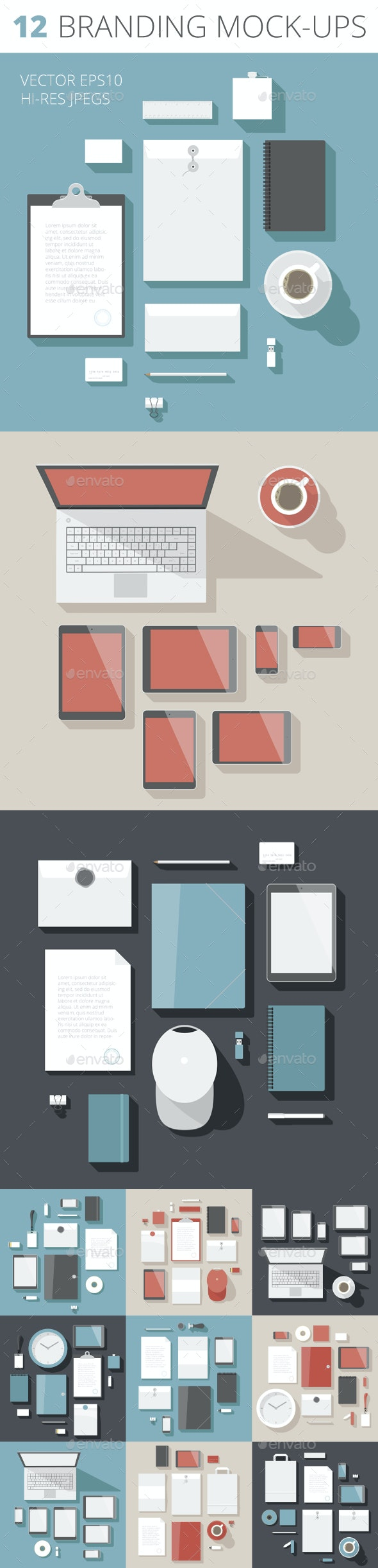Flat Design Corporate Identity Mock-up Template - Concepts Business