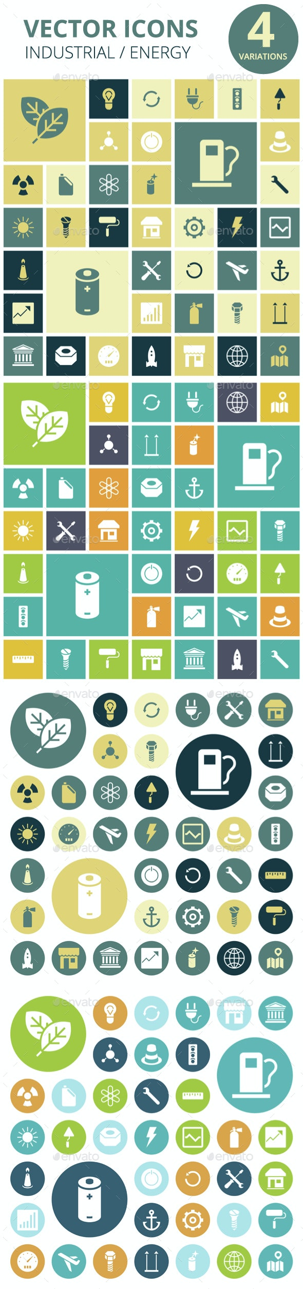 Flat Design Icons for Industrial, Energy and Ecology - Technology Icons