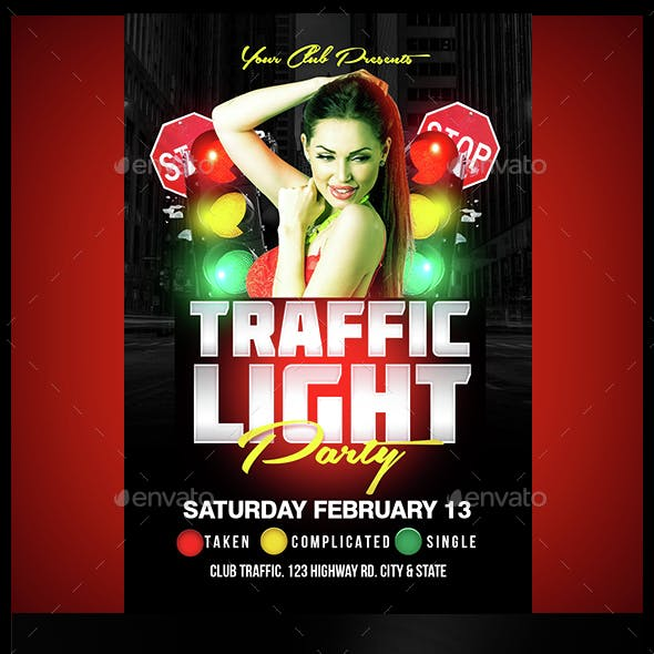 Traffic Light Party Flyer Template