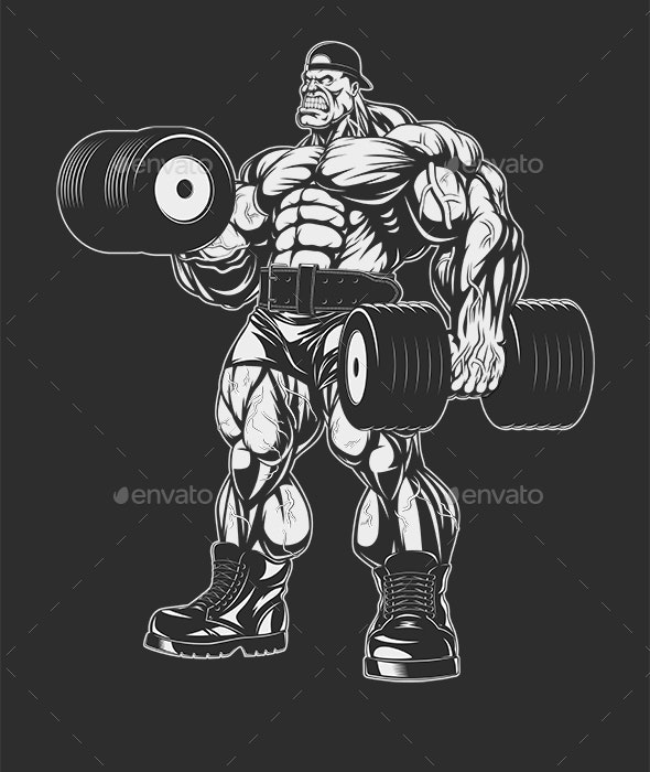 Bodybuilder with Dumbbell - Sports/Activity Conceptual