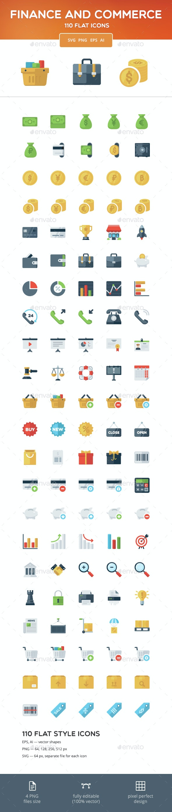 Finance and Commerce Flat Icons - Business Icons