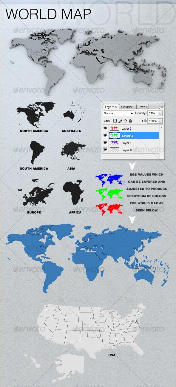 3D World Map(s) - Miscellaneous Isolated Objects