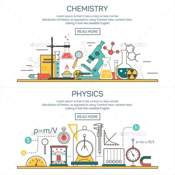 Science Banner Concepts in Line Style