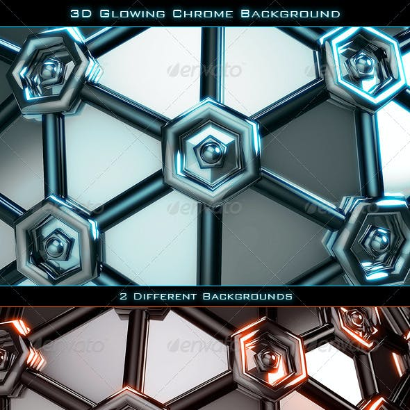 3D Glowing Chrome Background