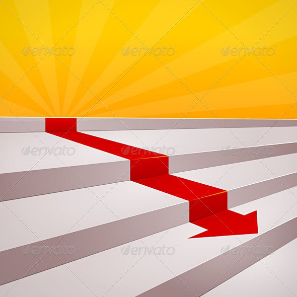 Red arrow on steps - Business Conceptual