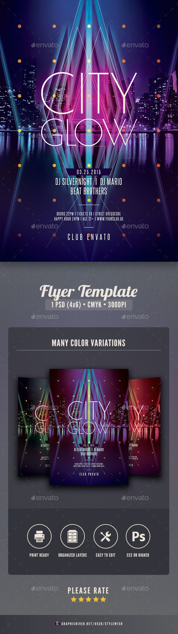 City Glow Flyer - Clubs & Parties Events