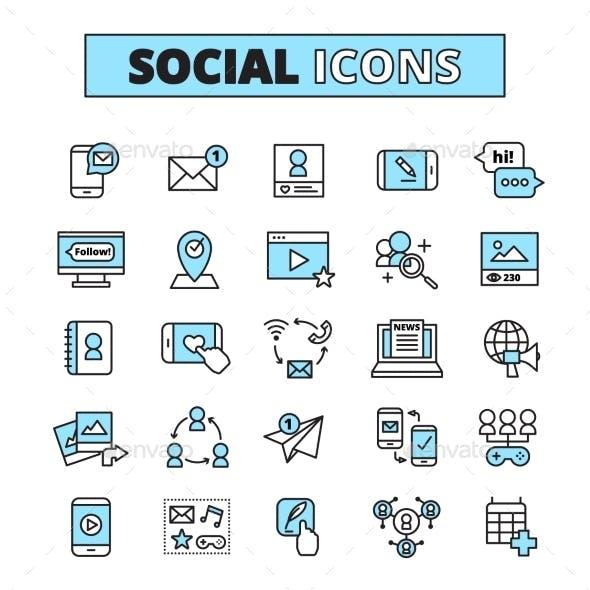 Social Media Line Icons Set