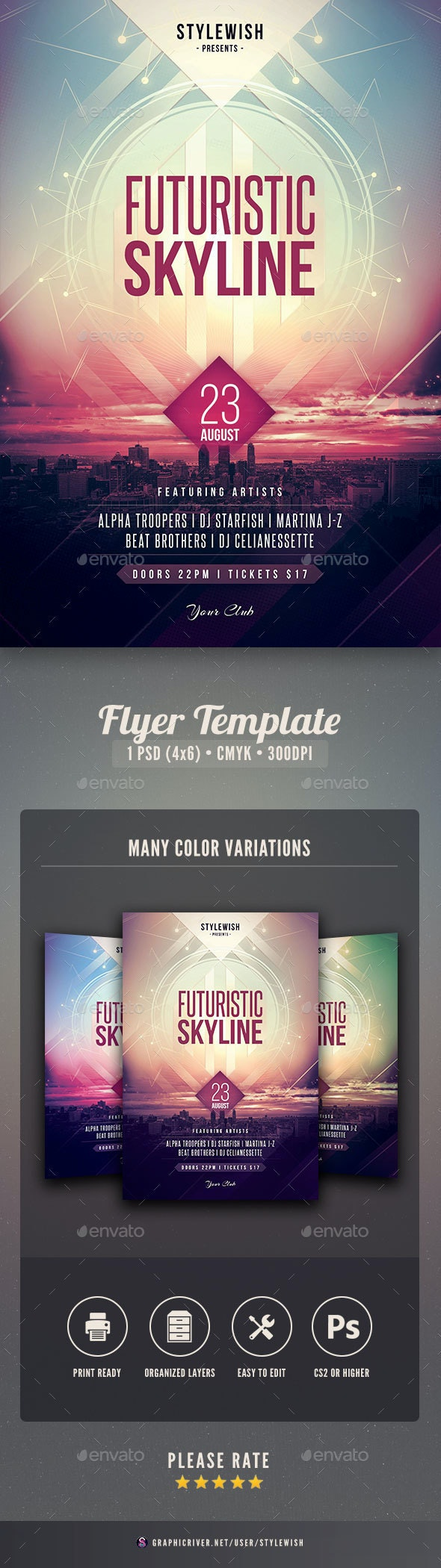 Futuristic Skyline Flyer - Clubs & Parties Events