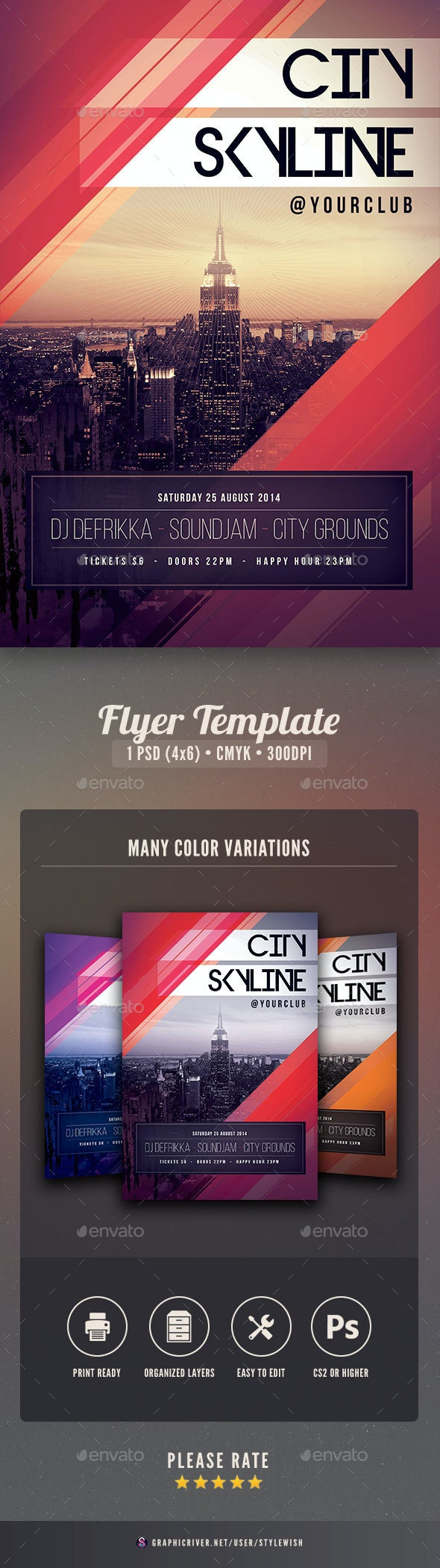 City Skyline Flyer - Clubs & Parties Events