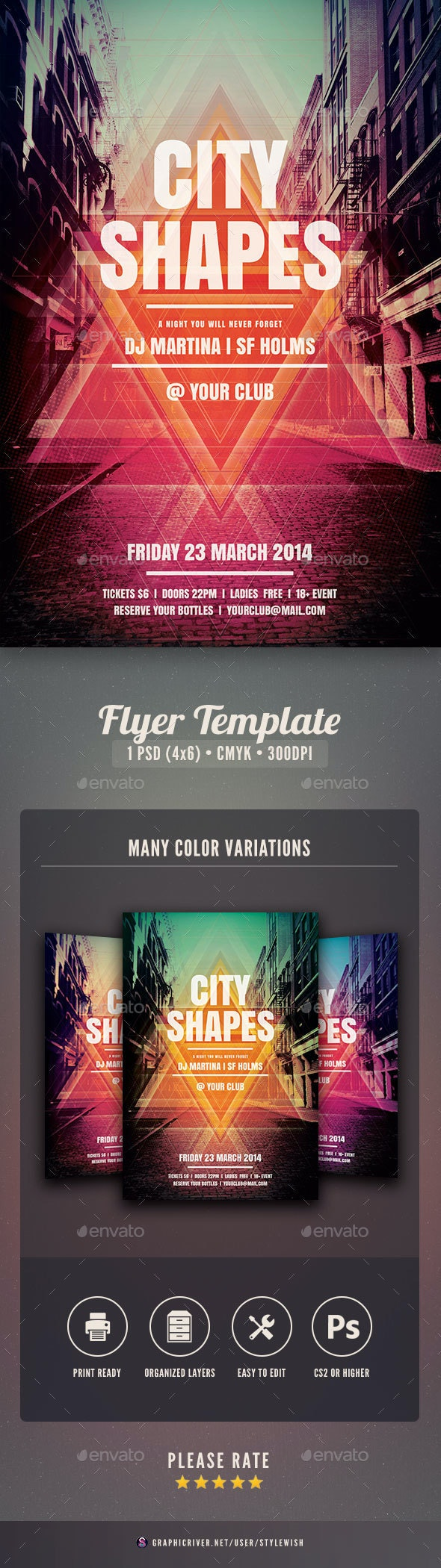 City Shapes Flyer - Clubs & Parties Events