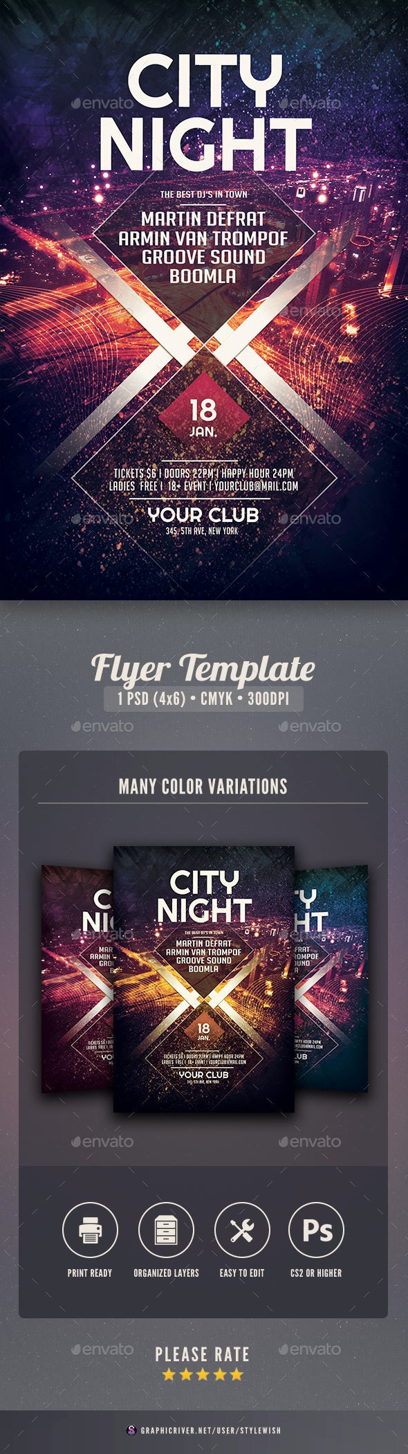 City Night Flyer - Clubs & Parties Events