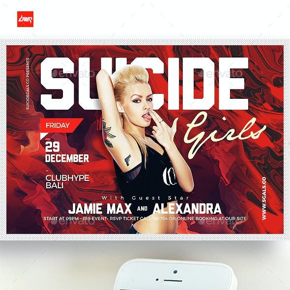 Suicide Girls Party Horizontal Flyer Template