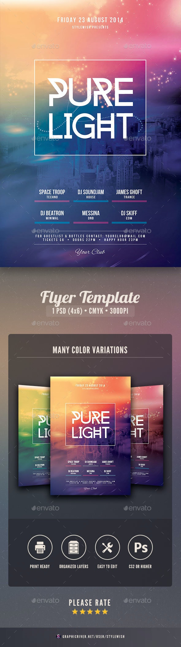 Pure Light Flyer - Clubs & Parties Events