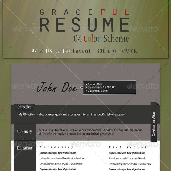 Graceful Resume (A4 & Us Letter Layout)