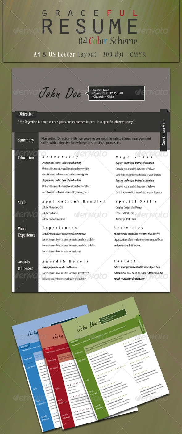 Graceful Resume (A4 & Us Letter Layout) - Resumes Stationery