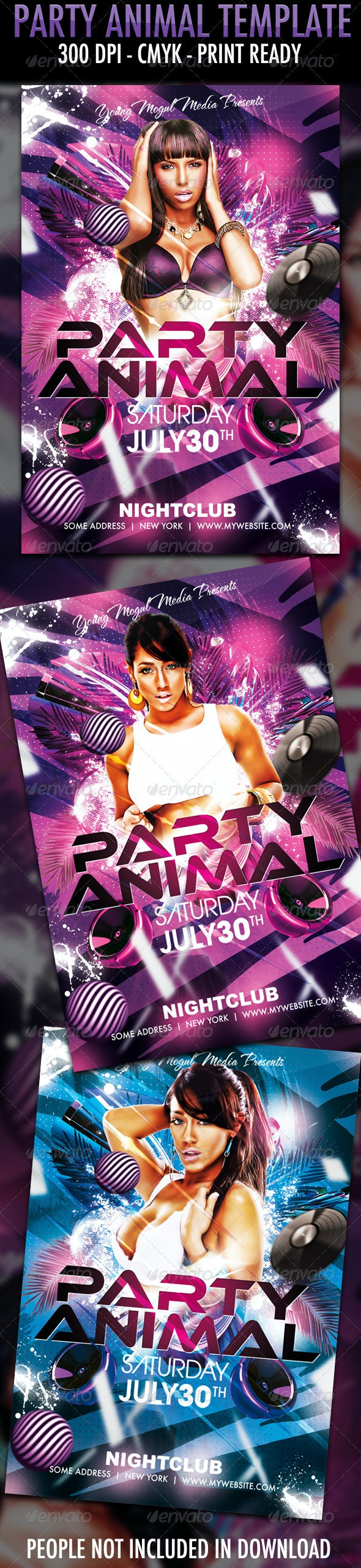Party Animal Flyer Template - Clubs & Parties Events