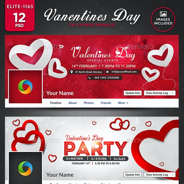Valentine's Day Facebook Cover Bundle - 12 Designs - Images Included