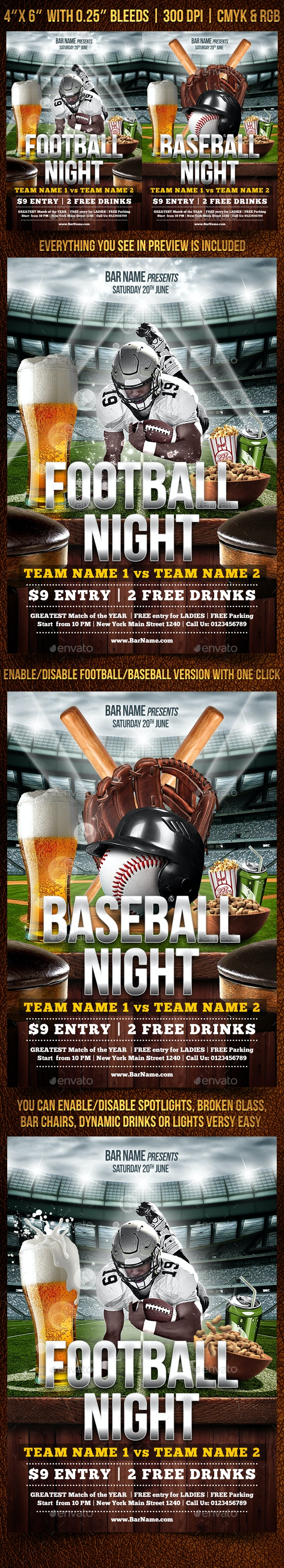 Football and Baseball Flyer Template - Sports Events