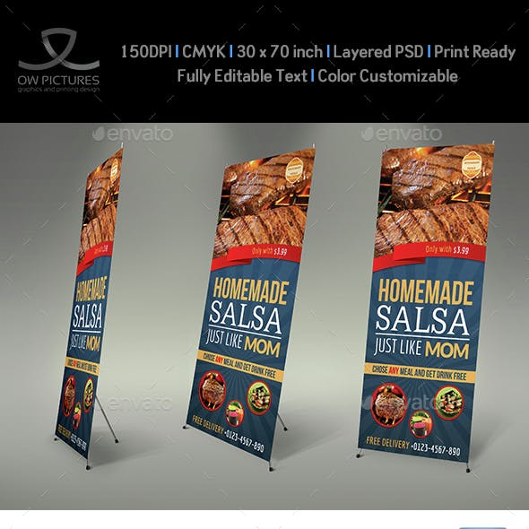 Restaurant  Rollup Signage Banner Template Vol.4