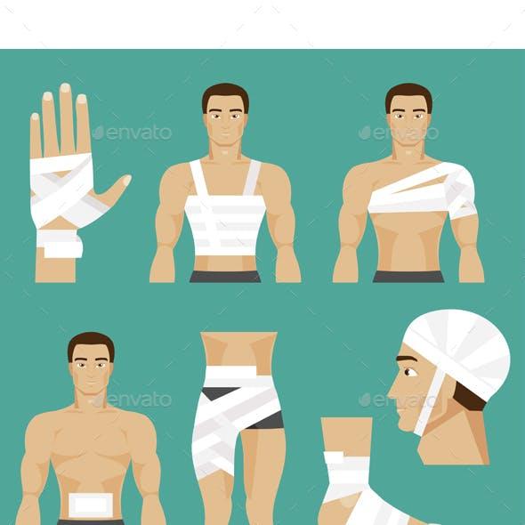Medical Set Bandaged Body Parts