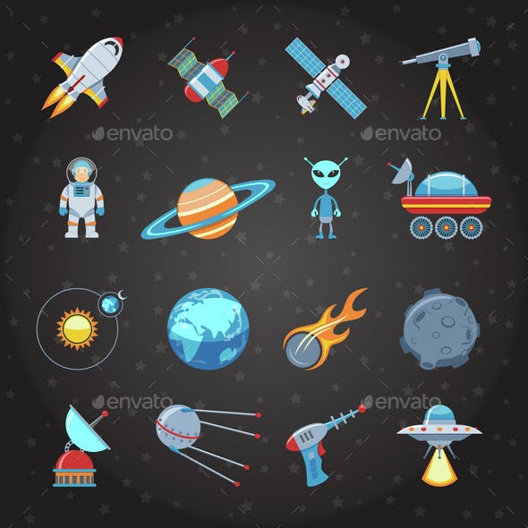 Space And Astronautics Flat Icons Set