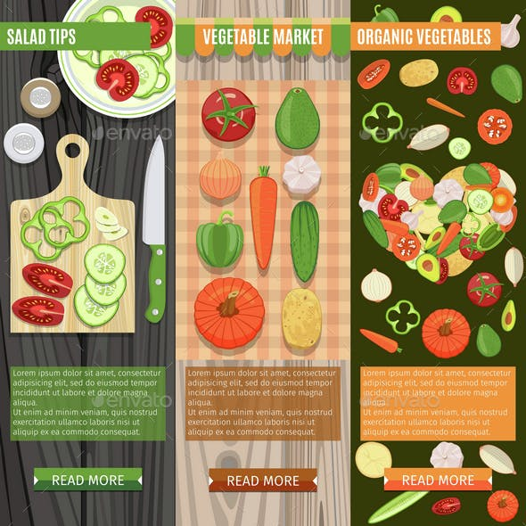Colorful Fresh Vegetables Banners Set