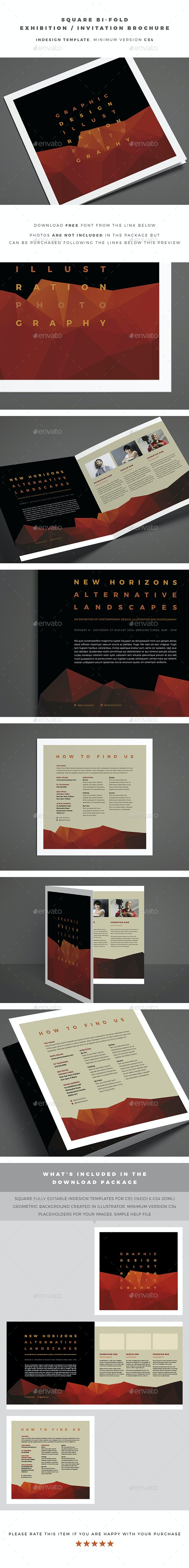 Square Bi-Fold Exhibition / Invitation Brochure - Brochures Print Templates