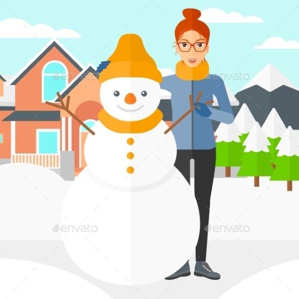 Woman Posing Near Snowman