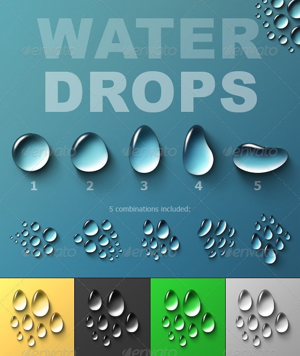 Water Drops - Objects Illustrations