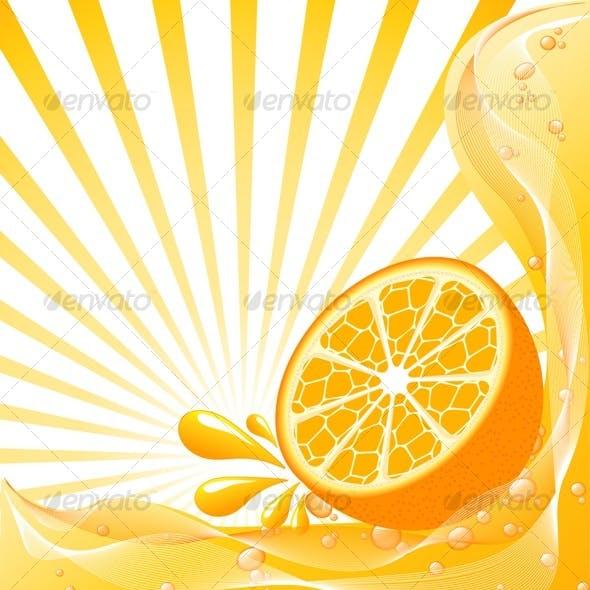 Orange background with the sun.