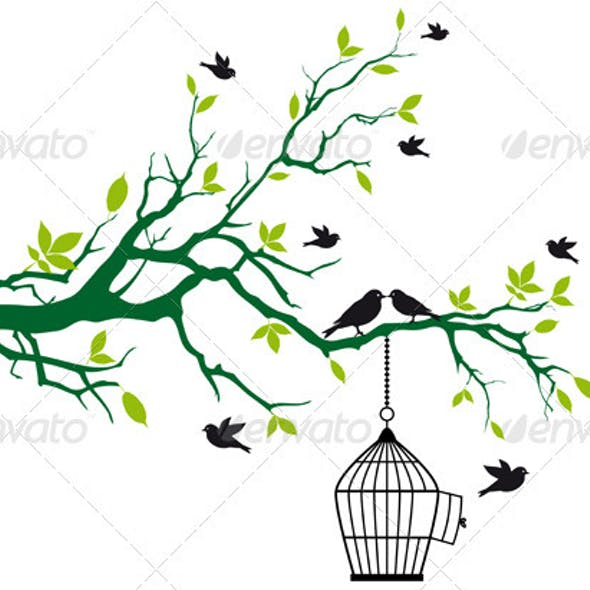 Tree With Birds And Birdcage