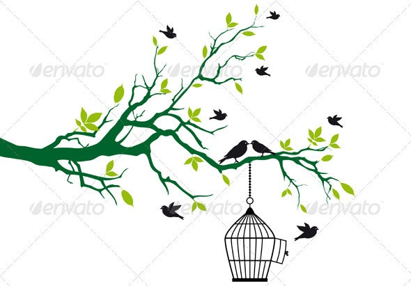 Tree With Birds And Birdcage - Flowers & Plants Nature