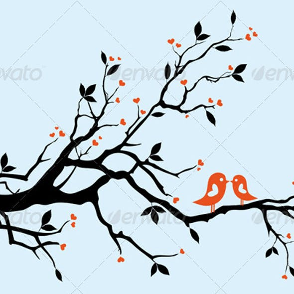 Kissing Birds On Heart Tree