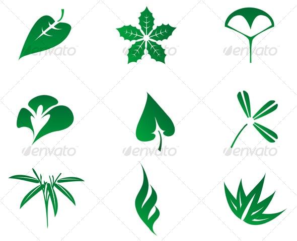 Set of leaves icons - Decorative Vectors