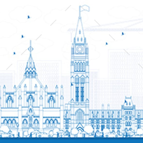 Outline Ottawa Skyline with Blue Buildings.