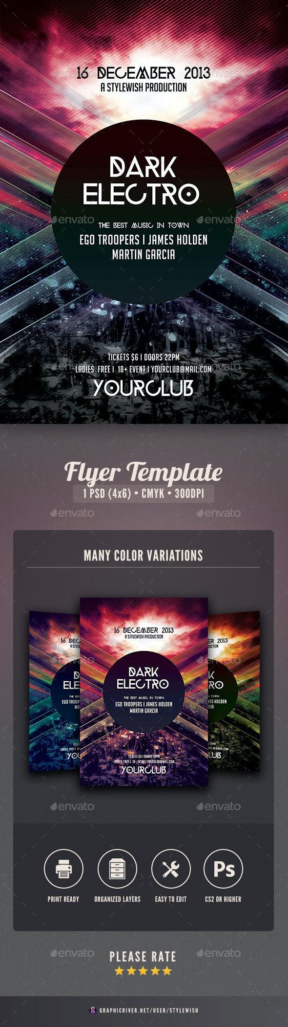 Dark Electro Flyer - Clubs & Parties Events