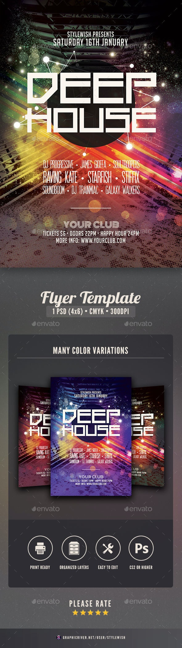 Deep House Flyer - Clubs & Parties Events