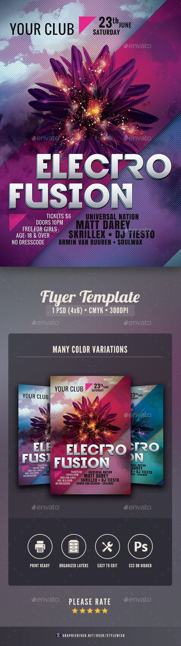 Electro Fusion Flyer - Clubs & Parties Events