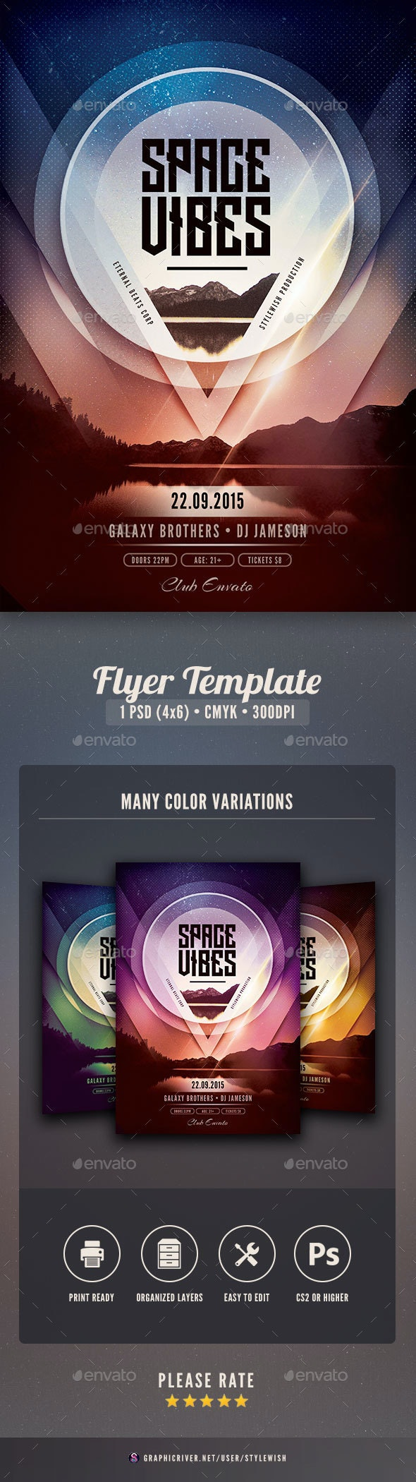 Space Vibes Flyer - Clubs & Parties Events