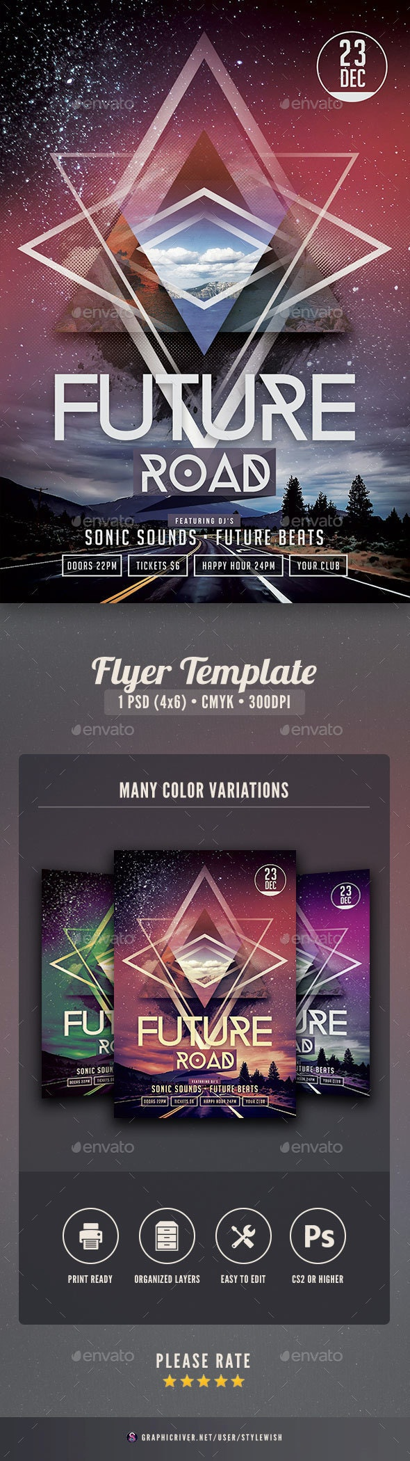 Future Road Flyer - Clubs & Parties Events