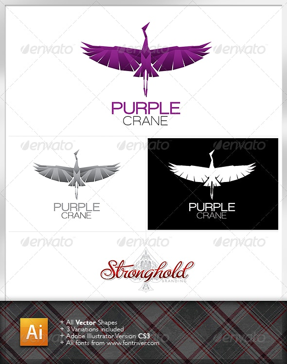 Purple Crane Logo - Animals Logo Templates