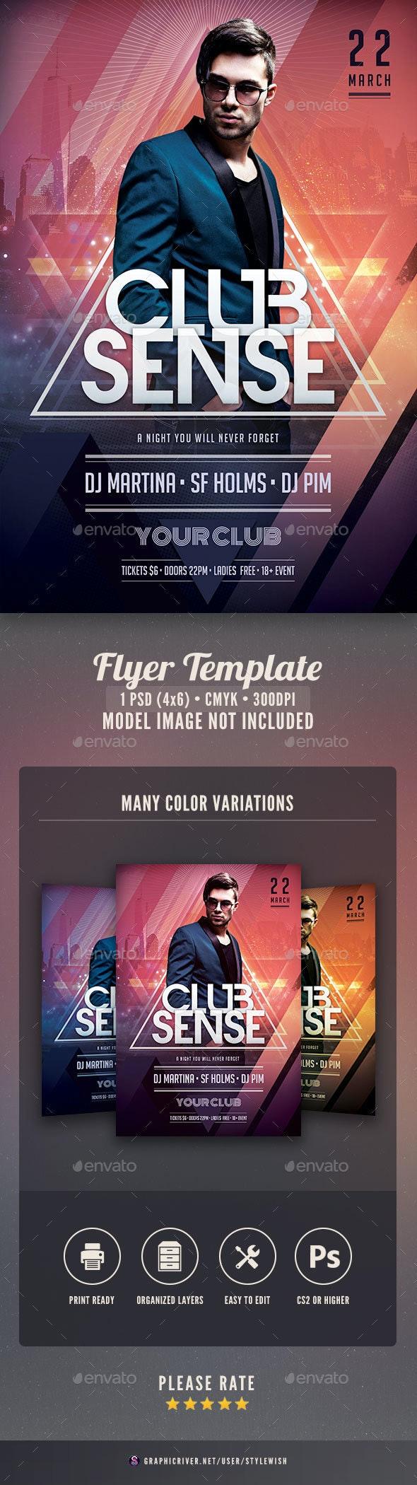 Club Sense Flyer - Clubs & Parties Events