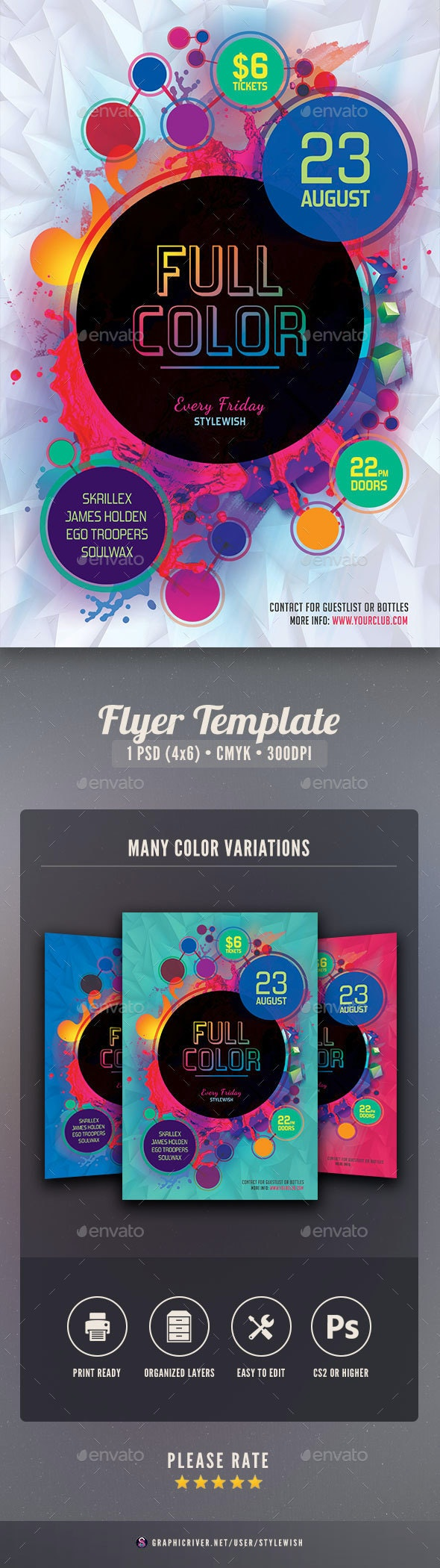 Full Color Flyer - Clubs & Parties Events