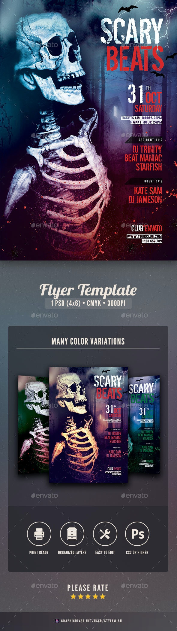 Scary Beats Flyer - Clubs & Parties Events