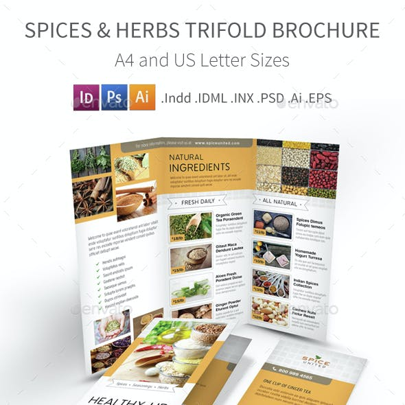 Spices & Herbs Trifold Brochure