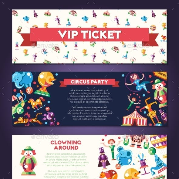 Circus Carnival Icons and Infographic Elements