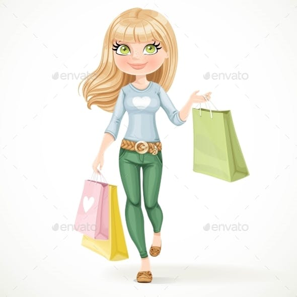Shopaholic Blond Girl Goes with Paper Bags