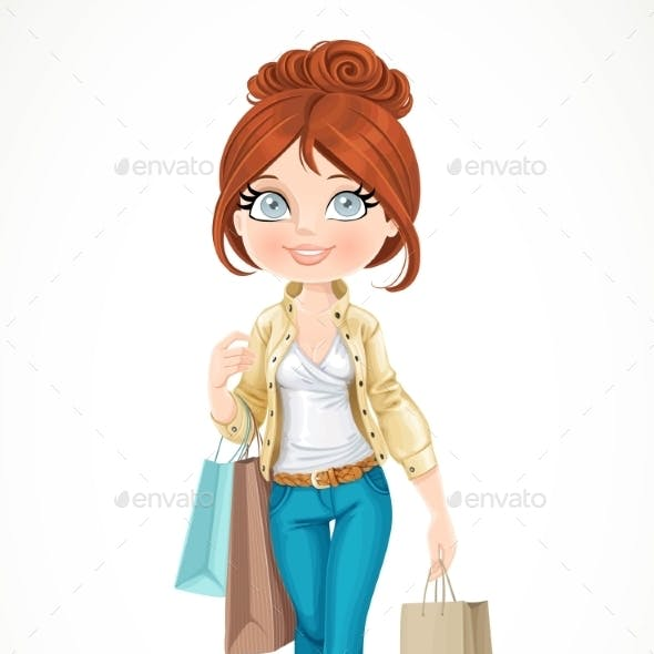 Shopaholic Brunette Girl Goes with Paper Bags